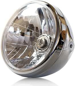 Motorrad Scheinwerfer H4 Nevo 7 Zoll Klarglas Chrom Prismenreflektor Befest M8 Seitlich E Geprüft Auto
