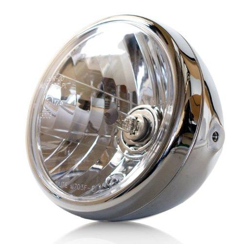 Motorrad Scheinwerfer H4 'NEVO', 7 Zoll, Klarglas, chrom, Prismenreflektor, Befest. M8 seitlich, E-geprüft