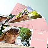 Kommunion Dankeskarten, Meine Kommunion 200 Karten, Kartenfächer 210x80 inkl. weiße Umschläge, Rot