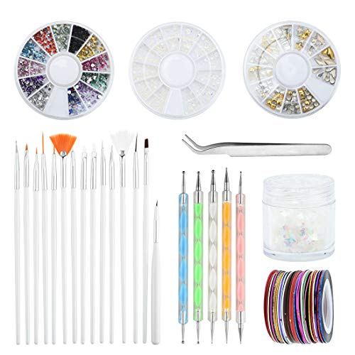 Vathery Nagel Dekoration mit Dotting Tools - Mix Größe Nagel Kunst Strass Wachs Stift Strass Picker Pinzette mit Nail Art Pinsel für Nail Art Salon