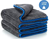 Carbigo 2x Professional Microfibre Cloths with 1200 GSM - extremely absorbent & gentle on paintwork thanks to soft microfibre - Ideal car polishing cloth for cleaning cars & motorbikes - Microfibre polishing cloth 40x40cm (2)