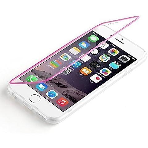 Flip Cover iPhone 6, JAMMYLIZARD Custodia full-body protezione totale in Silicone Trasparente per iPhone 6 e 6s, FUCSIA