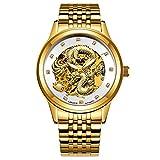 WATCHES-HAN Uhren für Männer 6 Colores Wasserdicht Leucht Edelstahl Automatik Gold Dragon Mechanische Uhren Luxus Handel Quarzuhren -c