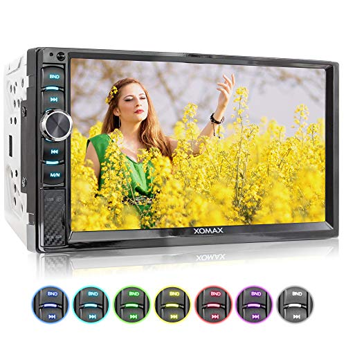 XOMAX XM-2V719 Autoradio mit Mirrorlink für Android, Bluetooth Freisprecheinrichtung, 7 Zoll / 18cm Touchscreen Bildschirm, 7 Beleuchtungsfarben, FM, AUX, SD, USB, 2 DIN