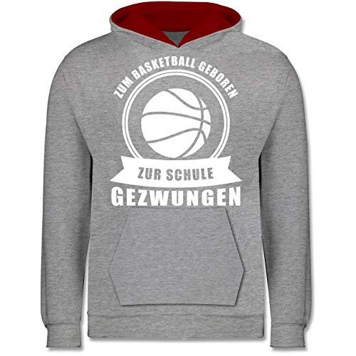 Sport Kind - Zum Basketball geboren Zur Schule gezwungen - 12-13 Jahre (152) - Grau meliert/Rot - JH003K - Kinder Kontrast Hoodie