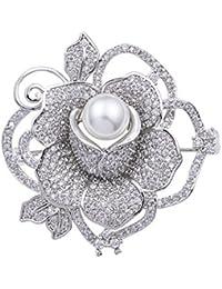 YAZILIND Rosa Flor cúbicos Zirconia Perla de Lujo Broche Mujer Elegante Abrigo Chal Pin Accesorios de Ropa