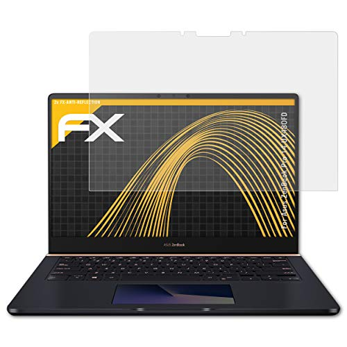 atFolix Panzerfolie kompatibel mit Asus ZenBook Pro 14 UX480FD Schutzfolie, entspiegelnde und stoßdämpfende FX Folie (2X)