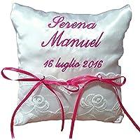 Crociedelizie, Cuscino Fedi Cuscinetto Portafedi Raso Ricamo Personalizzato Nomi Sposi + Data Matrimonio