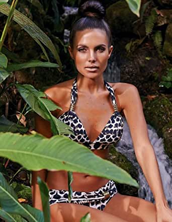 Aguaclara Reina De La Jungla Animal Print Halterneck Bikini Set JUN-41+17 Medium