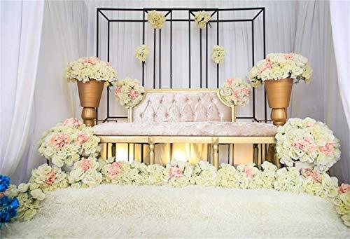 ge Blumen Hochzeit Photo Booth Hintergrund 10 x 8 ft gelbe Blumen Khaki Velvet Sofa weißer Teppich Hintergrund Hochzeit schießen Bridal Shower Braut Bräutigam Portrait schießen ()