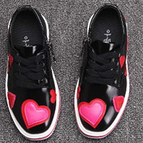 Oasap Girl's Fashion Low Top Lace-up Flat Heart Shoes pink