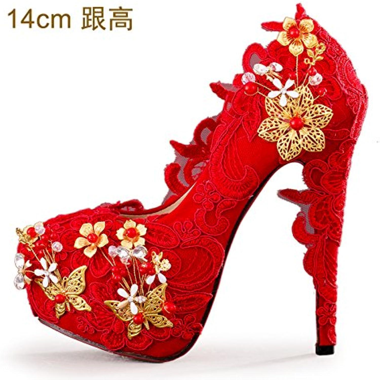 Kphy-Rouge  talons hauts faite à la main en dentelle dentelle en Papillon Fleur Cristal Chaussures de mariée robes de mariage...B078PF5WH7Parent 40654d