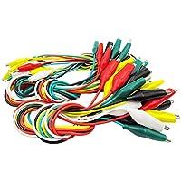 JER 10pcs Surtido de Cables de Prueba de Clip Dual End Colorido Cable de cocodrilo Cable de Prueba Aislado Profesional Cable Prueba de cocodrilo