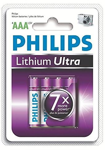 Piles Lithium Aaa - Philips FR03LB4A Pile Lithium Ultra Blister de