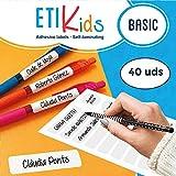 Etikids 40 Etichette adesive multiuso con lamina protettiva, in 4 formati diversi. Ideali per matite, pennarelli e tutto il materiale scolastico. (BASIC)