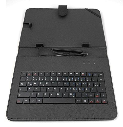 DURAGADGET Schwarze Deutsche QWERTZ Tastatur-Hülle mit Stand für TrekStor SurfTab B10 / SurfTab Breeze 10.1 Quad 3G
