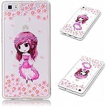 Funda para Huawei Ascend P8 5,2 Pulgadas Teléfonos Móviles - MaiJin Niña de Rosa TPU Silicona Case Cover Parachoques Carcasa