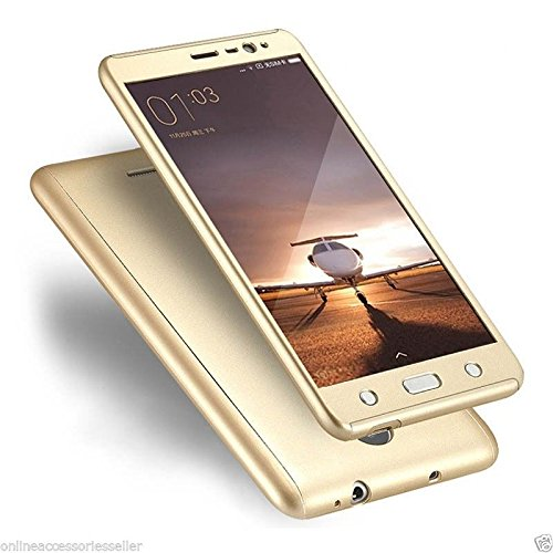 Insasta Vivo Y21 360 Degree Full Body Protection Front & Back Case Cover with Tempered Glass - (Gold)