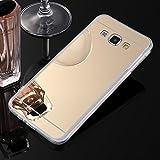 Sycode Moda Specchio Riflessione Morbida Bumper Ultra Sottile TPU Custodia Copertura Mirror Caso per Samsung Galaxy A5 2015-Oro