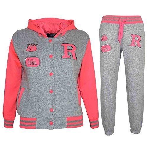 A2Z 4 Kids® Kinder Mädchen Jungen Baseball Trainingsanzug NYC FOX Jacke & Hose - T.S Baseball Fox Grey & Neon Pink 7-8