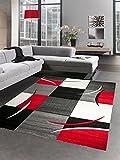 Designer Teppich Wohnzimmerteppich karo rot grau creme schwarz Größe 200 x 290 cm