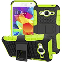 Funda para Samsung Galaxy G360con función atril/Soporte, emaxelers Slim diseño de protección seguras agarre antideslizante híbrido único duro y blando a prueba de golpes cubierta de protección para Samsung Galaxy Core Prime G360F SM-G360, plástico, verde, SM-G360