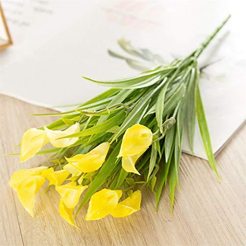 CAVIVI Künstliche Calla-Lilien-Blumen-Grün-Busch-Faux-Plastikweizengras-Sträucher-Tabellen-Mittelstücke-Anordnungen Hauptküche-Büro-Innenaußendekorationen, gelb