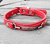 Red Apricot Qualität weiches Leder Hundehalsband, rot, 15 mm