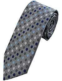 Collar and Cuffs London - High Quality Handmade Tie - Luxury Fashion Charcoal Grey with Blue and White Spot Pattern