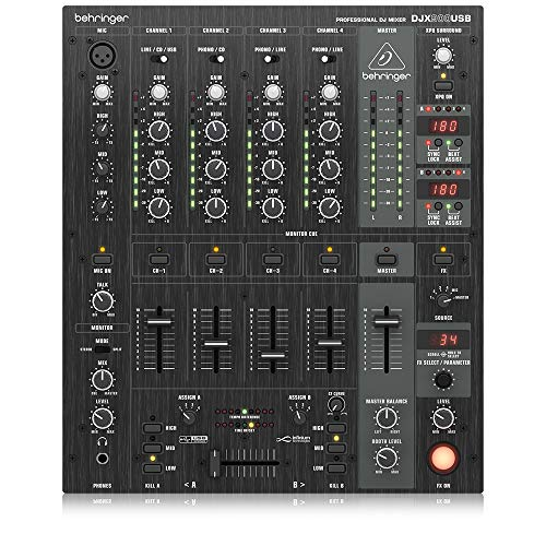 Behringer Pro Mixer DJX900USB Professioneller 5-Kanal DJ Mixer mit infinium Contact-Free VCA Crossfader, Advanced Digital Effects und USB/Audio Interface