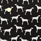 100 % Baumwollgewebe für Vorhänge, Polsterungen, Kissenbezüge, Bastelarbeiten, Taschen, Jalousien, Tischdecken; Meterware, 147,2 cm breit, Hundemotive im Schwarz/Weiß - Druck