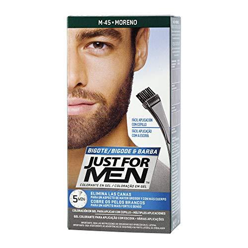 JUST FOR MEN Colorante en gel bigote barba y patillas - Tinte para las canas de la barba para hombres...