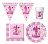 37 Teile Party-Geschirr Set Babys erster Geburtstag - Girlande Teller Becher Servietten für 8 Personen