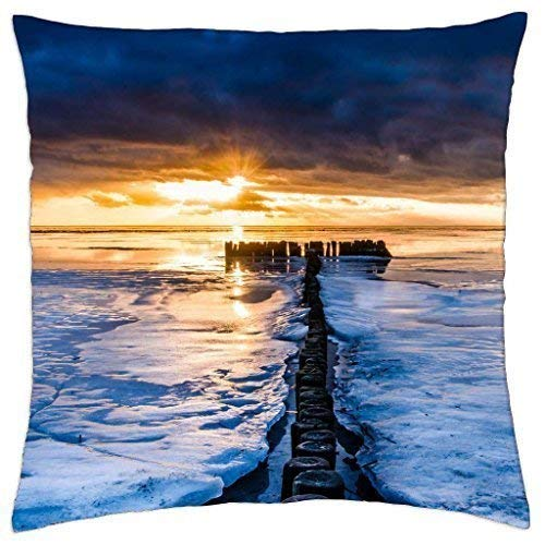 guolinadeou Fabulous Sunset on a Row of Pylons in The sea - Throw Pillow Cover Case (18