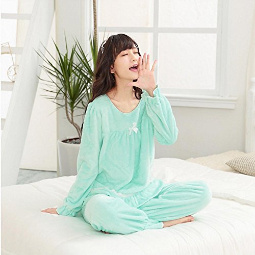 DMMSS Flanell Bademantel Damen Langarm Pyjama Set Green