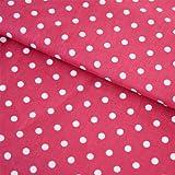 Hans-Textil-Shop Stoff Meterware Punkte 7 mm Weiß auf Pink