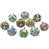 Indios de la mano de cerámica pintada de cajones Tiradores lote de 10 piezas de Gabinete de extracción de hardware