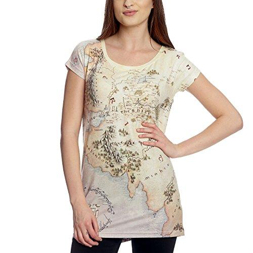 Herr der Ringe Girlie Shirt Mittelerde Karte Loose Fit Elbenwald beige - L