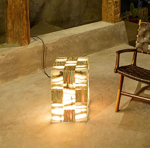 wohnfreuden Naturstein Onyx Stehlampe 30x30x45,5 cm Standleuchte Lampe Hocker