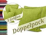 Kissenhüllen in Struktur-Optik - erhältlich in 23 modernen Farben und 3 verschiedenen Größen, Doppelpack Kissenhüllen 50 x 50 cm, hellgrün