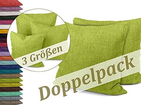 Kissenhüllen in Struktur-Optik - erhältlich in 23 modernen Farben und 3 verschiedenen Größen, Doppelpack Kissenhüllen 40 x 40 cm, hellgrün