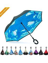 Inversa Paraguas Manija Paraguas de Doble Capa a Prueba de Viento Plegable Para los Hombres y