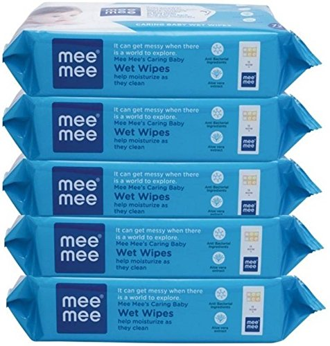 Mee Mee Anti Bacterial Caring Baby Wet Wipes with Aloe Vera 72 pcs (5 Pack)  available at amazon for Rs.466