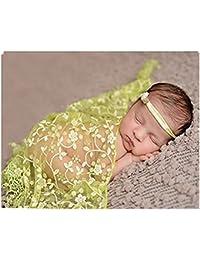 BINLUNNU bebé recién nacido fotografía apoyos ganchillo Wrap encaje gamuza  ... 752961eafcd