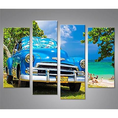 Quadri moderni Blauer Cuba Chevy am Strand 4er Stampa su tela - Quadro x poltrone salotto cucina mobili ufficio casa - fotografica formato XXL