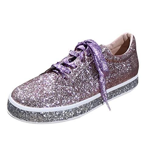 Flatform Sneaker für Damen/Dorical Frauen Damen Pailletten Glitzer Lackleder Elegant Sneakers Outdoor Schnürer Sportschuhe Laufschuhe Glänzende Schuhe Freizeitschuhe Ausverkauf(Khaki,37 EU)