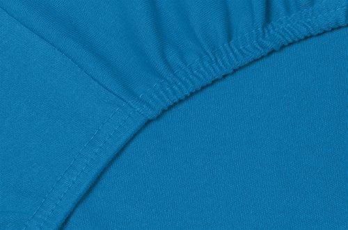 Double Jersey - Spannbettlaken 100% Baumwolle Jersey-Stretch bettlaken, Ultra Weich und Bügelfrei mit bis zu 30cm Stehghöhe, 160x200x30 Petrol - 5
