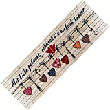 Teppich-Läufer Waschbar Rutschfest | Design Mit Liebe schmeckts 50x150 | Sauberlaufzone für Küche Flur | Schmutzfangmatte als Dekoartikel Küchendeko Küchenteppich Geschenk für Hobbykoch