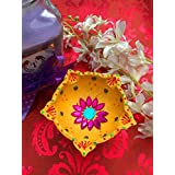 Terracotta Multicolour Decorative Handmade 5 Wick Diya For Diwali Puja/Home Décor/Housewarming Gift/Handmade Indian Lamps/Wedding Décor By ICandy Crafts
