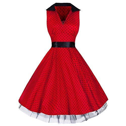 Pretty Kitty Fashion 50s Red Black Kitsch Vintage Polka Dot Swing Dress
